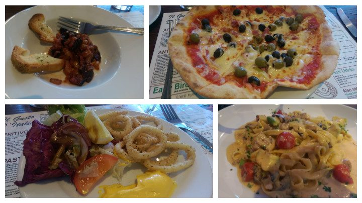 "Chefs nibbles to begin, the Delice 10"" pizza, calamari for a start and funghi tagliatelli main"
