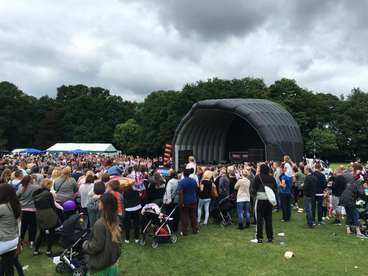 Hundreds gathered around the inflatable Rock FM concert stage.