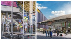 Workmen begin to put up scaffolding on the covered market on Friday Pic: Paul Melling and the new look Markets plan