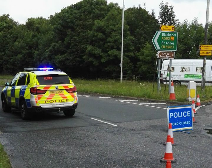 Police closed the A583 for around six hours Pic: Lancashire Road Police