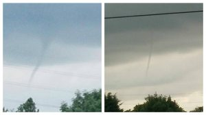 Tornado hunters spotted the weather phenomena trying to form over Lea Pic: Candice Robinson and Benny Mc'Nally