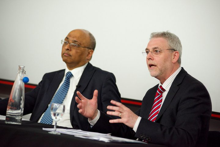 UCLan's vice-chancellor, right, took part in an EU Referendum debate making the case to Remain