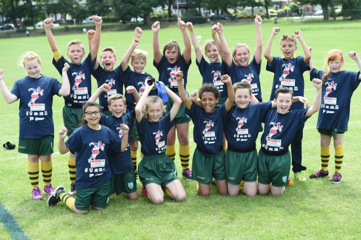 PRE - St Lawrence Primary School in Preston celebrates after scooping gold in tag rugby