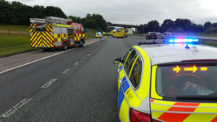 Emergency services closed the M6 southbound at Carnforth while the three people involved were treated Pic: Lancashire Road Police