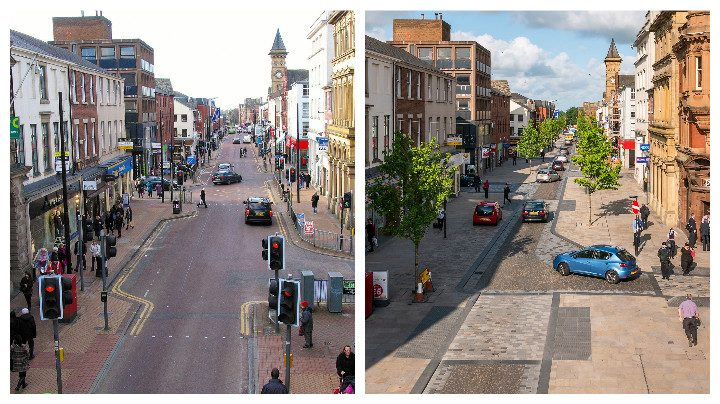 How Fishergate looked before, and how it looks now