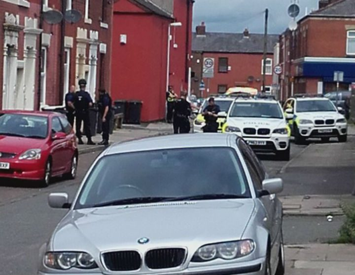 Police blocked off the road during the incident Pic: Phil Hobson