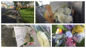 Floral tributes left at the scene to Robert