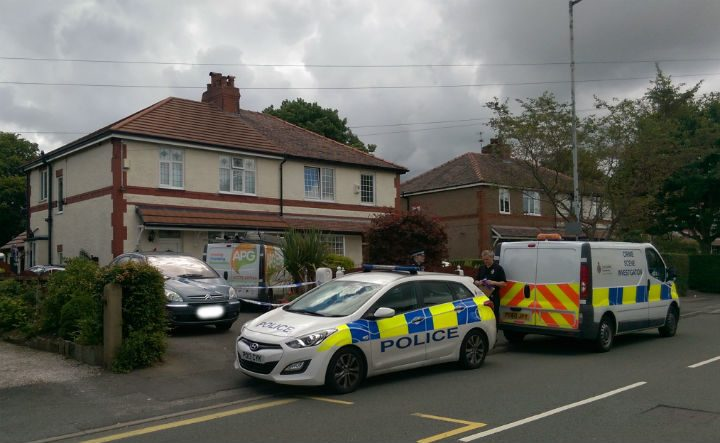 Preston Police outside the home in Lea on Sunday morning