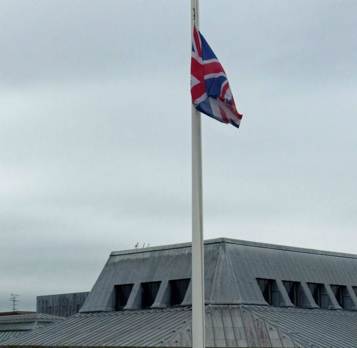 The Union Flag at half mast