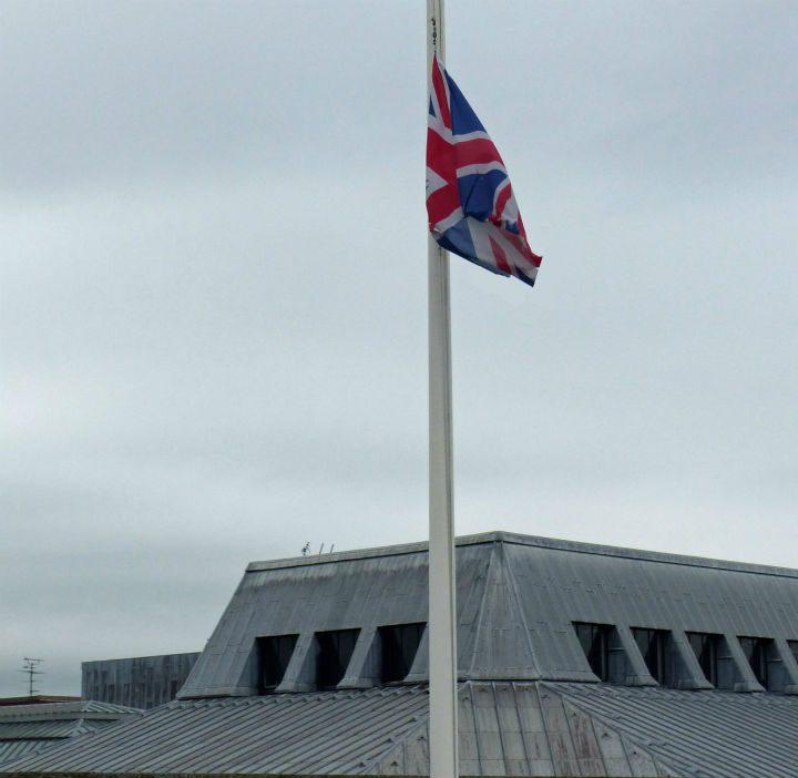 The Union Flag at half mast