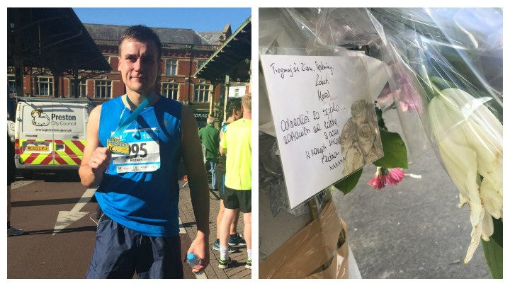 Robert Symonowicz and floral tributes left at the scene of the crash