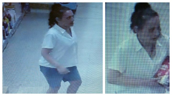 Two pictures released by police of a woman they wish to speak to