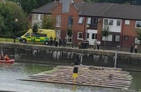 Emergency services at Preston Docks on Saturday