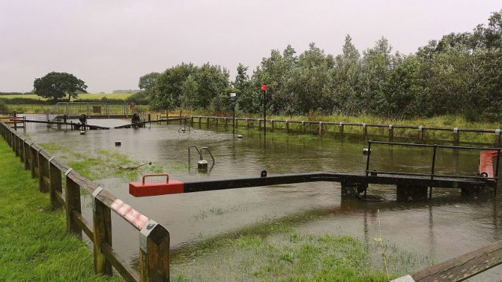 Water overflowing at the Ribble Link Pic: Benny Mc'Nally