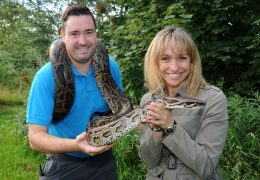 Michaela on the right, Neil Trickett, and one very large snake!