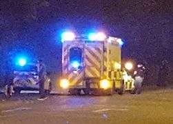 Police vehicles and an ambulance in Cromwell Road on Saturday night Pic: Andy Spear