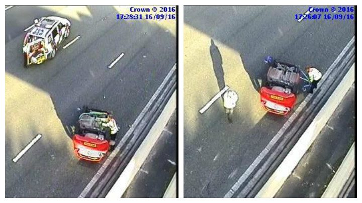 The car on the M6 which has overturned Pic: Highways England