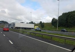 The lorry as seen from the opposite carriageway Pic: Adrian Dorin