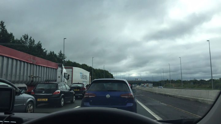 Delays on the M6 southbound on Sunday morning Pic: Louise Hogg