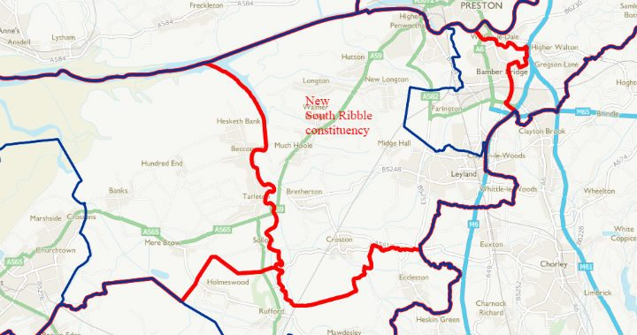 The new South Ribble constituency would expand in the East but shrink in the West