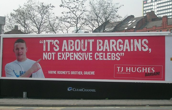 A billboard advertising TJ Hughes Pic: Gene Hunt