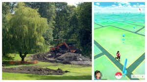 Winckley Square undergoing restoration work and a screengrab of the area in Pokemon Go