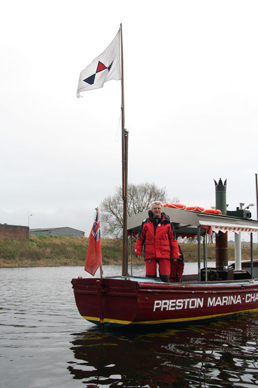Chris Miller, founder of Preston Marina, pictured aboard the Preston Puffin in her last trip up river in 2007, prior to de commissioning.