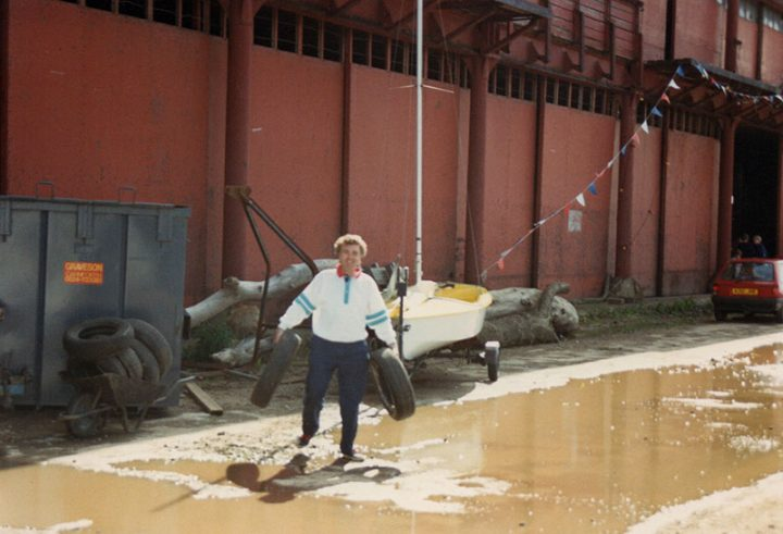 Chris Miller working at the Preston Yacht Haven, precursor to Preston Marina based in No. 3 Shed on the south side of the main dock basin. c.1988