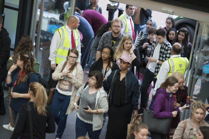 Students arrive at last year's special shopping event