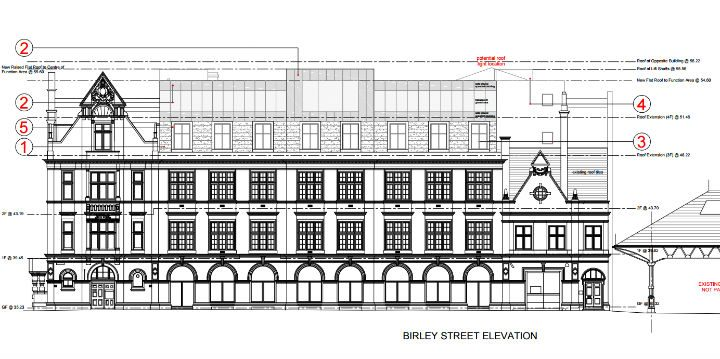 Proposals include building a function space on top of the Birley Street side of the building