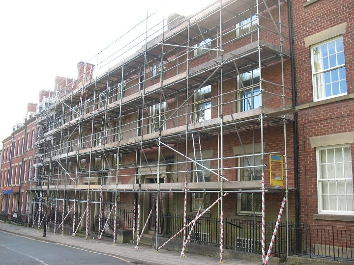 Scaffolding up at College House