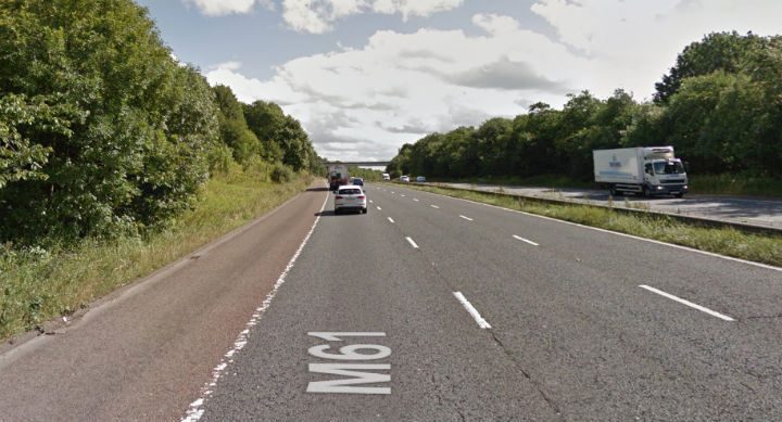 The incident happened on the southbound side of the M61 just south of Preston Pic: Google
