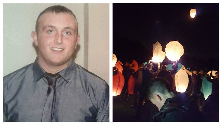Mark McNulty and lanterns lit in his memory Pic: Andy Speariett