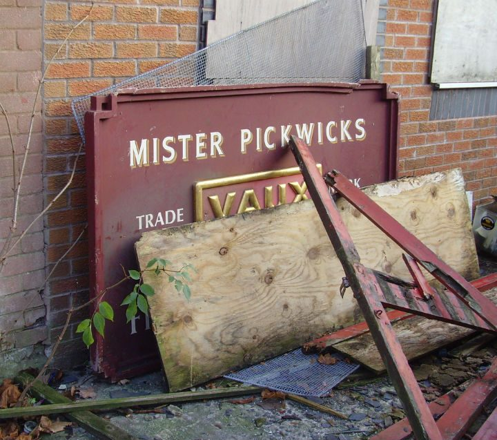 Mister Pickwicks sign stands forlornly Pic: Tony Worrall