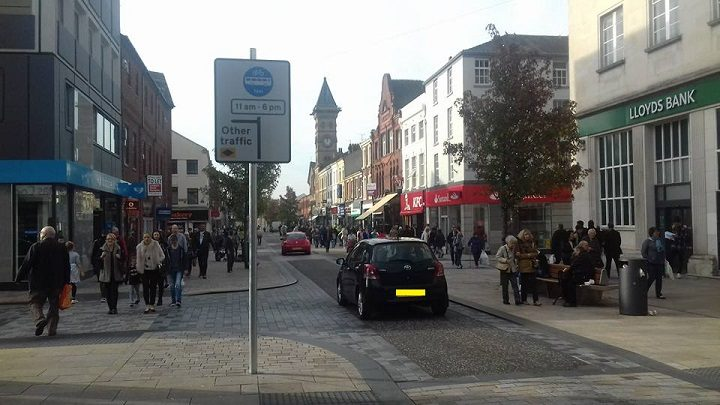 New signs showing how this section of Fishergate is not for cars from 11am. Picture at 12.43pm on Monday. Pic: Tony Worrall