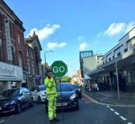 A stop-go man controls traffic in Lune Street Pic: Louise Hogg
