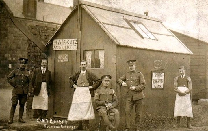 Cabin barber Fulwood barracks courtesy S. Hughes. Pic: Preston Digital Archive