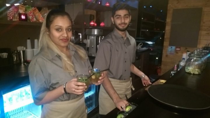 Behind the bar at MUMU with some mocktails