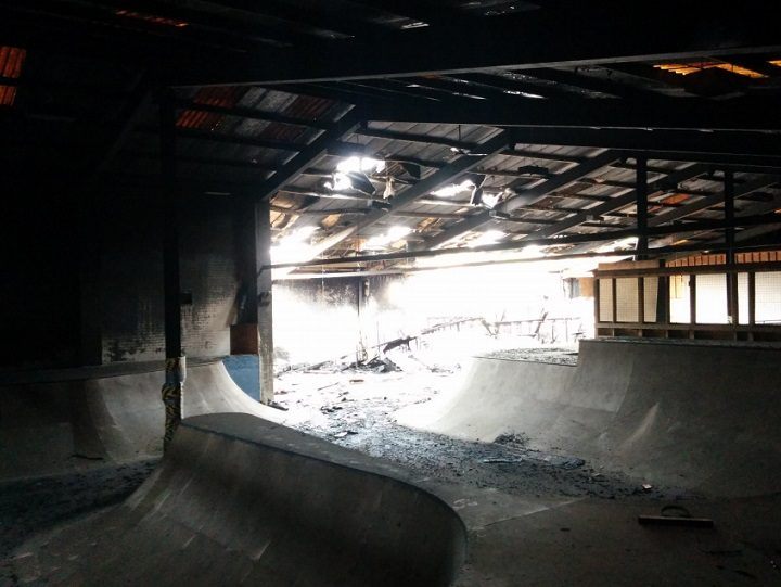 Inside the former Ark skate park