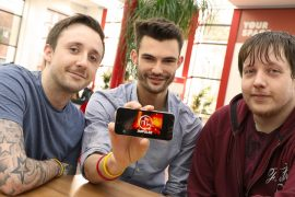Business managements students Will Taylor and Dan Collins along with games development student Kev Strachand