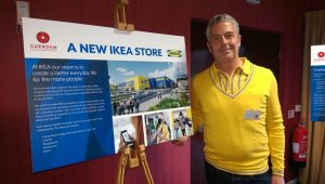 Tim Farlam with the plans for IKEA