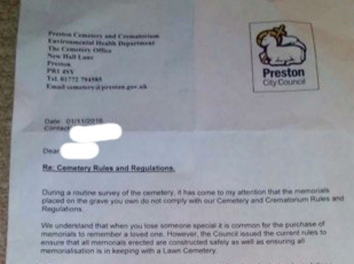 A letter sent out on 1 November, the council say it's about a new memorial placed on a grave
