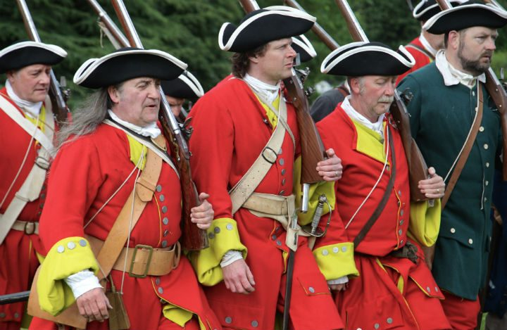 Redcoats marching during a reenactment of the Battle of Preston