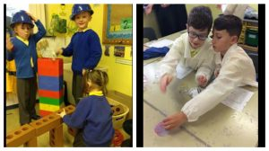 Children at Higher Walton enjoying science activities