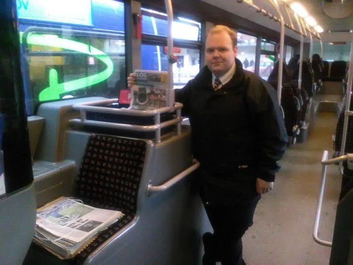 Tom Calderbank with Blog Preston copies on the bus