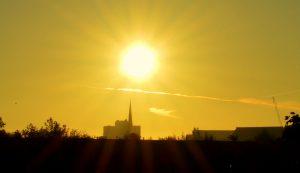 The sun rising over Preston Pic: Tony Worrall
