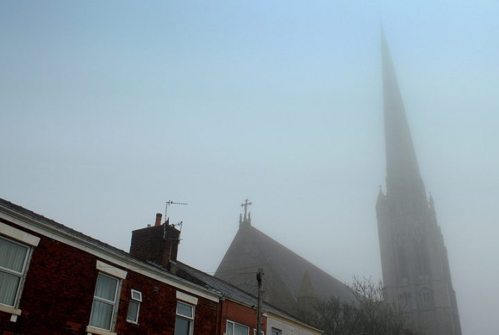 St Walburge's Church lurks in the gloom Pic: Tony Worrall