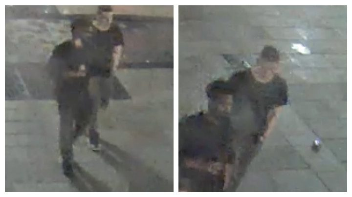 Two men pictured are urged to contact police