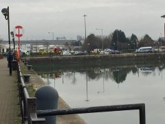 Emergency services at the scene in Preston Docks