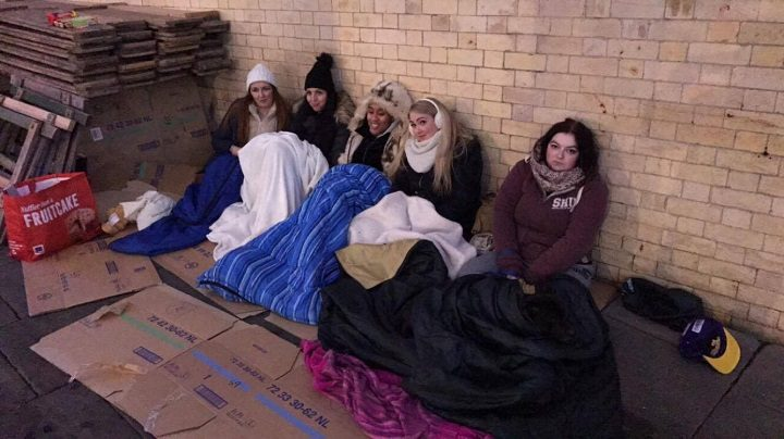 Five of the group are pictured sleeping out: From right to left: Keeley Bingham, Stephanie Jones, Shakira Browne, Tjay Morley and Kim Horton